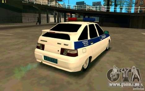 Police Vaz-2112 pour GTA San Andreas sur la vue arrière gauche