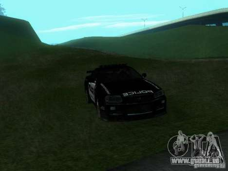 Nissan Skyline R34 Police pour GTA San Andreas vue intérieure