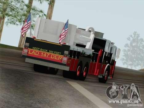 Seagrave Marauder II. SFFD Ladder 147 für GTA San Andreas Unteransicht