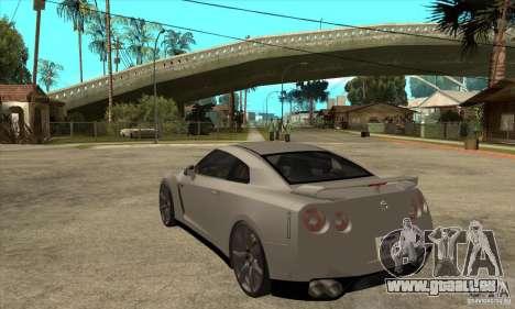 Nissan GT-R R35 2008 pour GTA San Andreas sur la vue arrière gauche