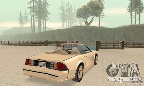 Chevrolet Camaro RS 1991 Convertible pour GTA San Andreas vue de dessous