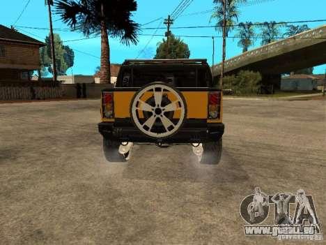 Hummer H2 4x4 diesel pour GTA San Andreas vue de droite