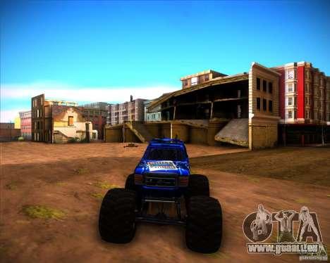 Monster Truck Blue Thunder pour GTA San Andreas sur la vue arrière gauche