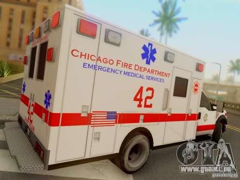 Ford F350 Super Duty Chicago Fire Department EMS pour GTA San Andreas vue de droite