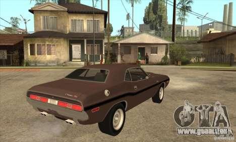 Dodge Challenger R/T Hemi 426 pour GTA San Andreas vue de droite