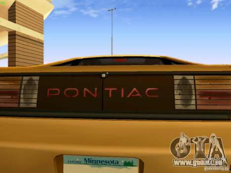Pontiac Fiero V8 für GTA San Andreas zurück linke Ansicht