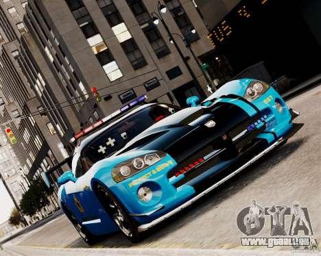 Dodge Viper SRT-10 ACR 2009 Police ELS pour GTA 4 Vue arrière