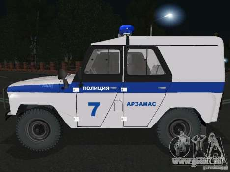 UAZ-31512 Police pour GTA San Andreas laissé vue