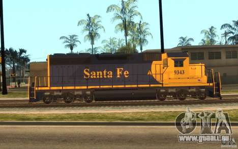 Lokomotive SD 40 Santa Fe blau/gelb für GTA San Andreas linke Ansicht