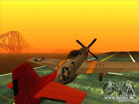 P51D Mustang Red Tails für GTA San Andreas linke Ansicht