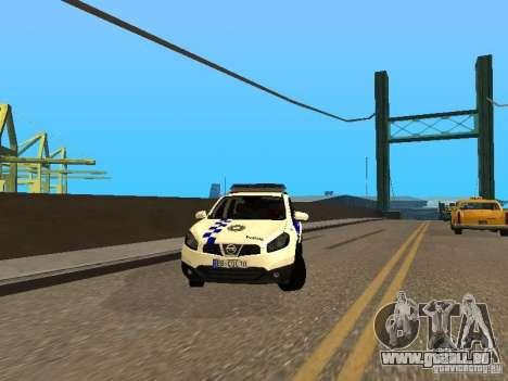 Nissan Qashqai Espaqna Police pour GTA San Andreas vue arrière