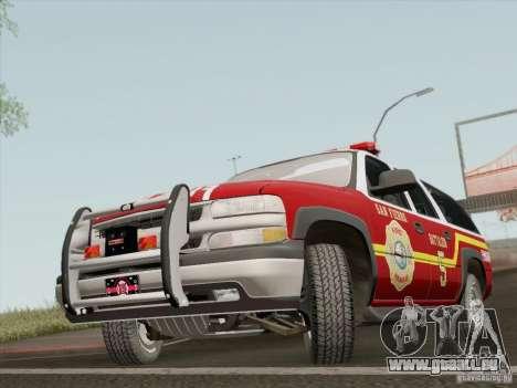 Chevrolet Suburban SFFD pour GTA San Andreas laissé vue
