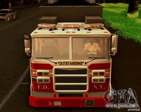 Pumper Firetruck Pierce F.D.N.Y für GTA San Andreas Rückansicht