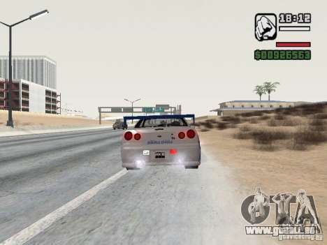 Nissan Skyline GTR34 FNF2 pour GTA San Andreas laissé vue