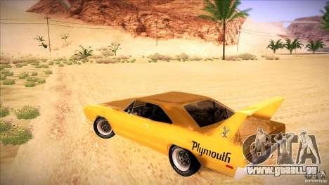 Plymouth Roadrunner Superbird Custom pour GTA San Andreas sur la vue arrière gauche