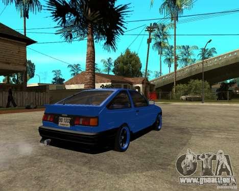 Toyota Corolla AE86 für GTA San Andreas zurück linke Ansicht