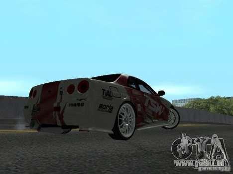 Nissan Skyline R 34 für GTA San Andreas Rückansicht