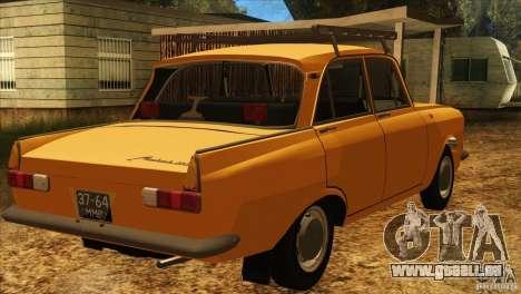 Moskvitch 412 v2.0 pour GTA San Andreas sur la vue arrière gauche