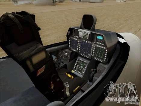 FA22 Raptor für GTA San Andreas Innenansicht