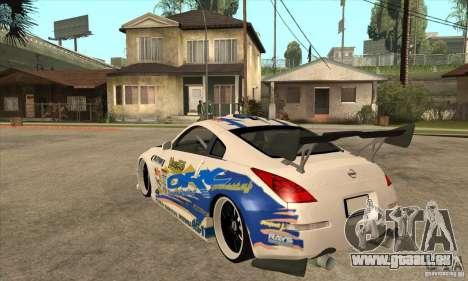 Nissan Z350 - Tuning pour GTA San Andreas sur la vue arrière gauche