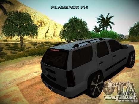 Chevrolet Tahoe HD Rimz pour GTA San Andreas vue intérieure