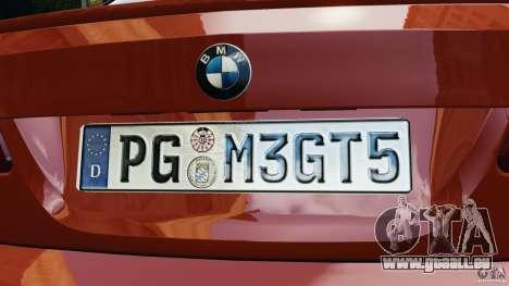 BMW M3 GTS 2010 pour GTA 4 est une vue de dessous