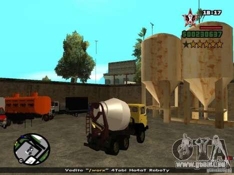 KAMAZ 53112 bétonnière pour GTA San Andreas laissé vue