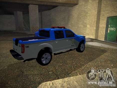 Nissan Frontier PMERJ pour GTA San Andreas sur la vue arrière gauche