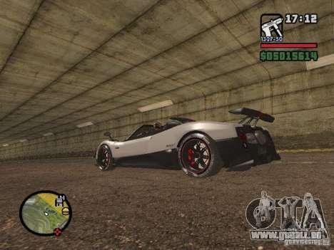 Pagani Zonda Cinque Roadster V2 pour GTA San Andreas laissé vue