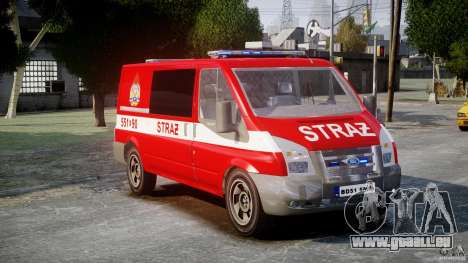 Ford Transit Polish Firetruck [ELS] für GTA 4 rechte Ansicht