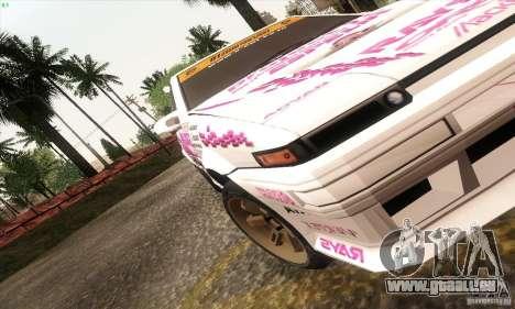 Toyota Corolla AE86 pour GTA San Andreas laissé vue