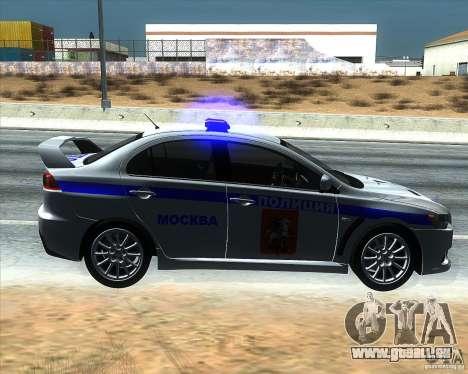 Mitsubishi Lancer Evolution X PPP Police pour GTA San Andreas laissé vue