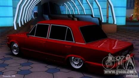 Tuning de voiture VAZ 2107 pour GTA San Andreas laissé vue