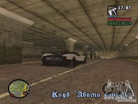 Pagani Zonda Cinque Roadster V2 für GTA San Andreas zurück linke Ansicht