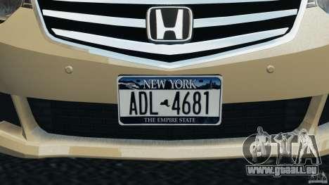 Honda Accord Type S 2008 pour GTA 4 est une vue de dessous