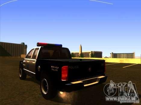 Dodge Ram 1500 Police pour GTA San Andreas laissé vue
