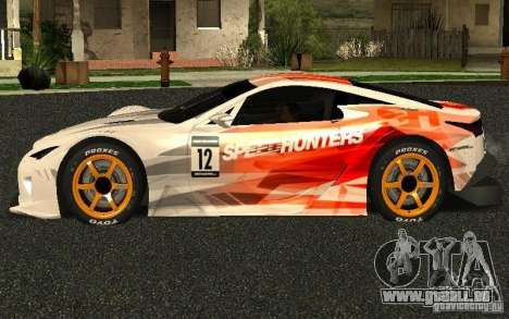 Lexus LFA Speedhunters Edition pour GTA San Andreas laissé vue