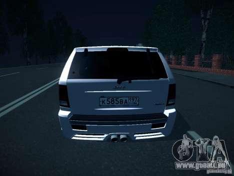 Jeep Grand Cherokee SRT8 für GTA San Andreas Rückansicht