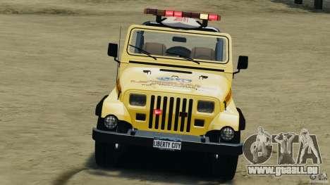 Jeep Wrangler 1988 Beach Patrol v1.1 [ELS] pour GTA 4 est une vue de l'intérieur