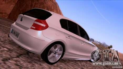 BMW 120i 2009 für GTA San Andreas Rückansicht