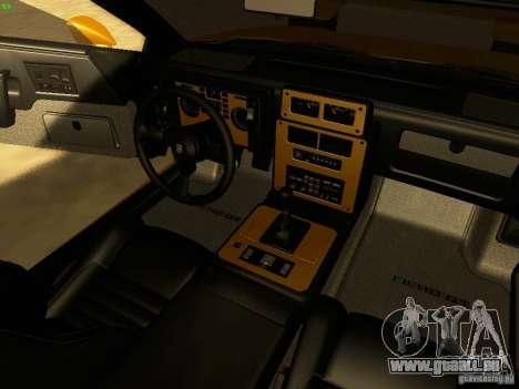 Pontiac Fiero V8 pour GTA San Andreas vue intérieure