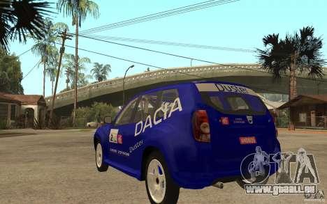 Dacia Duster Rally pour GTA San Andreas sur la vue arrière gauche