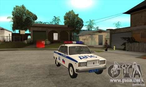 VAZ 2107 Police pour GTA San Andreas vue arrière