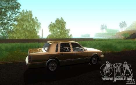 Lincoln Towncar 1991 pour GTA San Andreas laissé vue