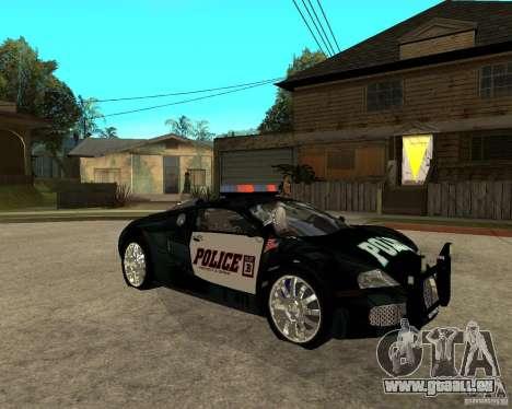 Bugatti Veyron Polizei San Fiero für GTA San Andreas rechten Ansicht