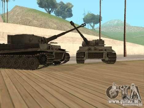 Pzkpfw VI Tiger pour GTA San Andreas sur la vue arrière gauche