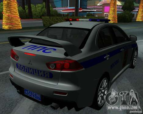 Mitsubishi Lancer Evolution X PPP Polizei für GTA San Andreas Seitenansicht