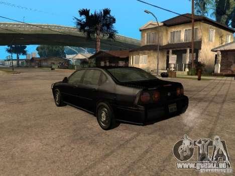 Chevrolet Impala Undercover pour GTA San Andreas laissé vue