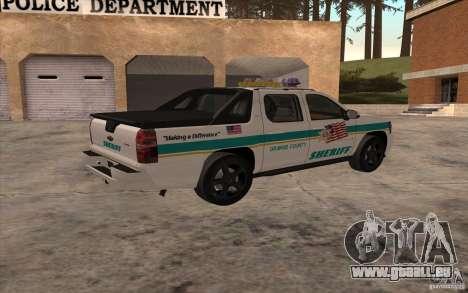 Chevrolet Avalanche Orange County Sheriff pour GTA San Andreas laissé vue