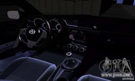 Scion Tc 2012 pour GTA San Andreas vue intérieure